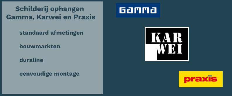 Schilderij ophangen Gamma, Karwei en Praxis.