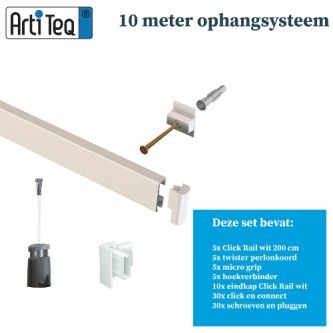 Artiteq 10 METER schilderij ophangsysteem WIT PRIMER RAL9016 (inclusief haken en koorden) 9.6803S
