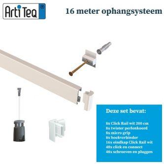 Artiteq 16 METER schilderij ophangsysteem WIT PRIMER RAL9016 (inclusief haken en koorden) 9.6805S