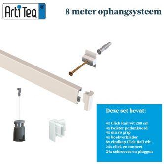 Artiteq- Schilderij ophangsysteem-schilderijophangsysteem-wandophangsysteem-wit ophangsysteem-8 METER (inclusief haken en koorden) 9.6802S