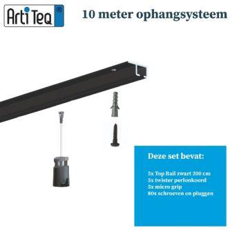 Schilderij ophangsysteem-schilderijophangsysteem-Artiteq-plafondophangsysteem-zwart ophangsysteem-10 METER (inclusief haken en koorden) 9.6832S
