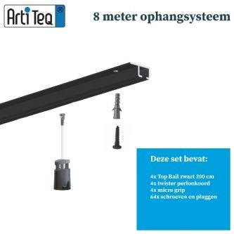 Schilderijophangsysteem- Schilderij ophangsysteem-Artiteq-plafondophangsysteem-zwart ophangsysteem-8 METER (inclusief haken en koorden) 9.6831S